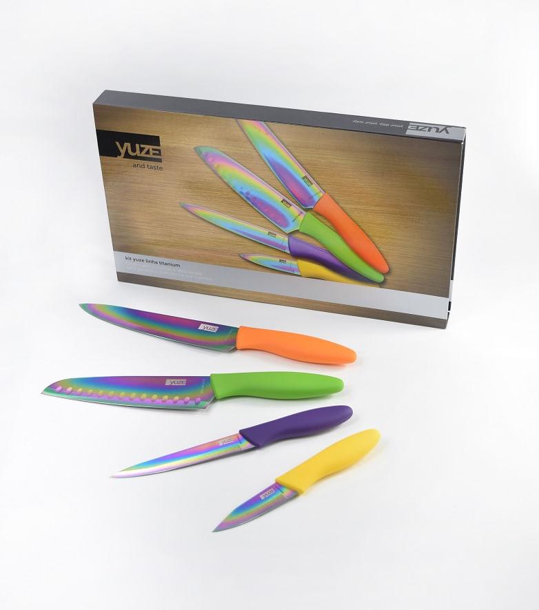 Conjunto com 4 facas em embalagem para  presente