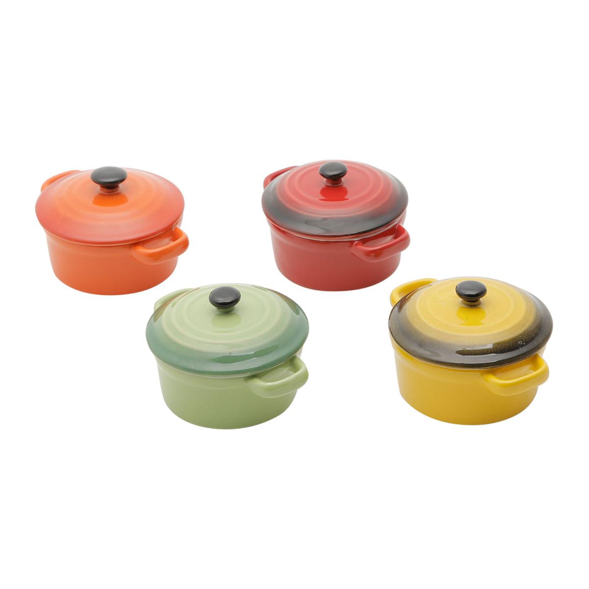 Conjunto de 4 mini panelas redondas com tampa, porcelana colorida 12,5cm