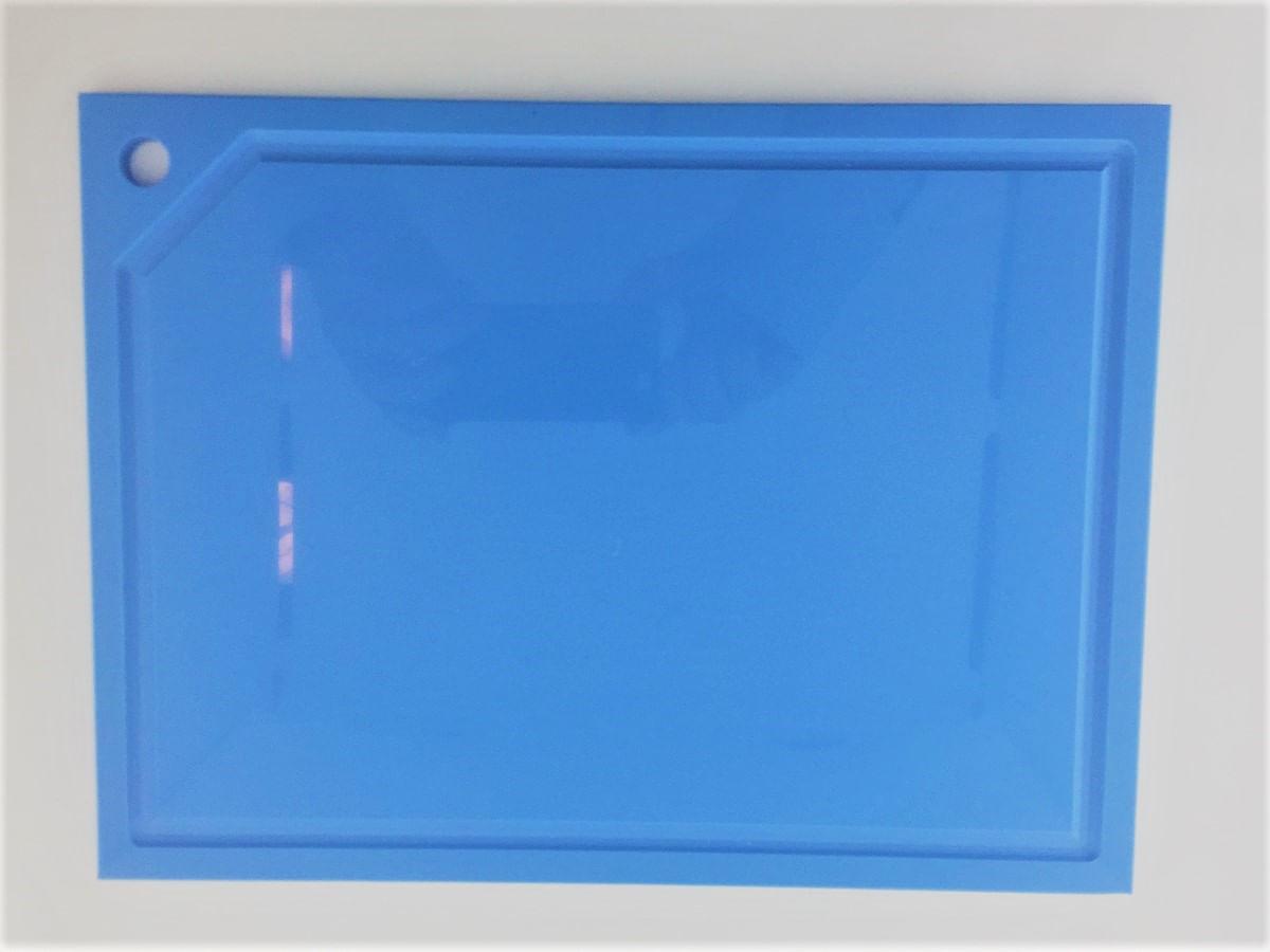 Tabua de Corte em polietileno - azul  - média