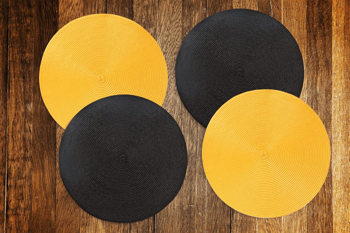 Jogo americano redondo  4 unidades -  Amarelo e preto