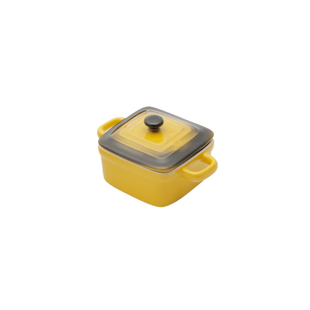 Mini panela Quadrada porcelana, com tampa - Amarela
