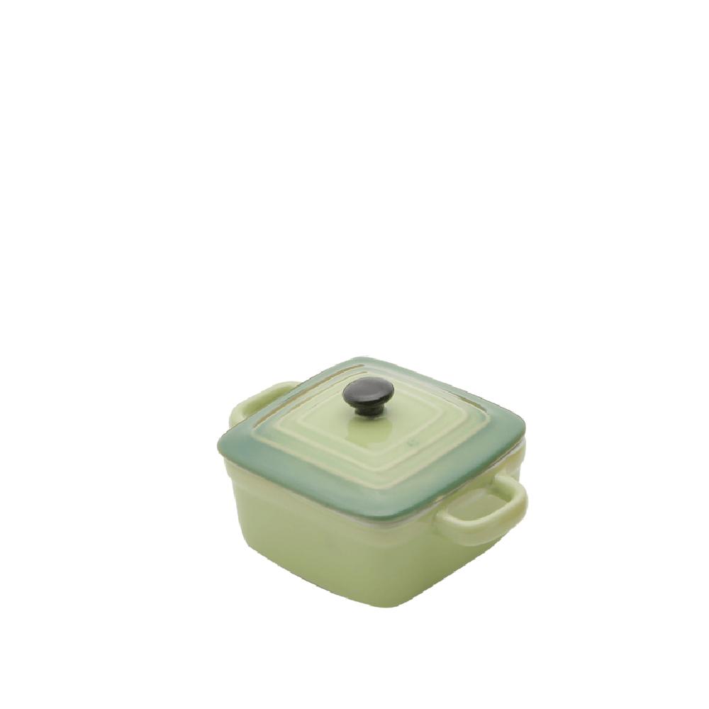 Mini panela Quadrada porcelana, com tampa - Verde
