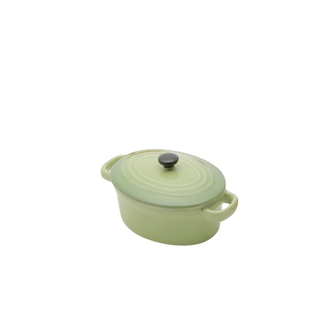 Mini panela oval porcelana, com tampa - Verde