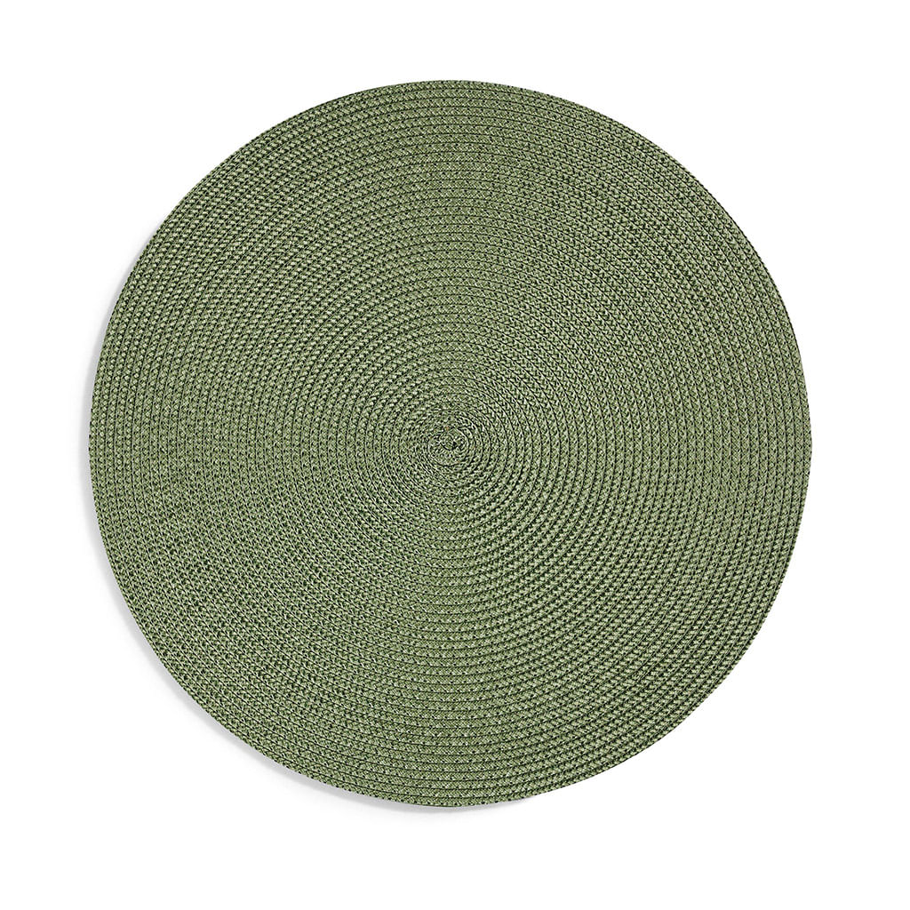 Jogo americano redondo  6 unidades -  verde oliva