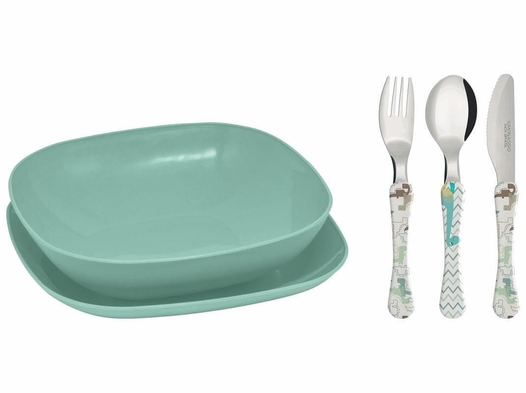Conjunto pratos e talheres infantil - verde - Dino