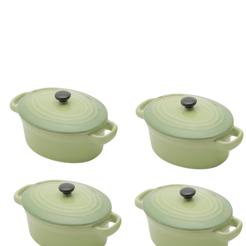 Conjunto de 4 mini panelas verdes ovais de porcelana, com tampa - 15cm