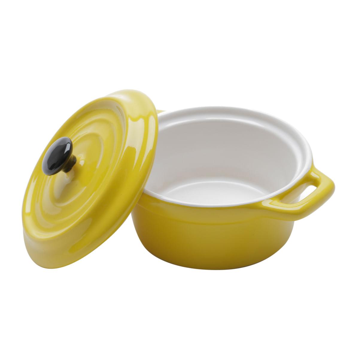 Mini caçarola redonda de porcelana amarela - 12,7cm