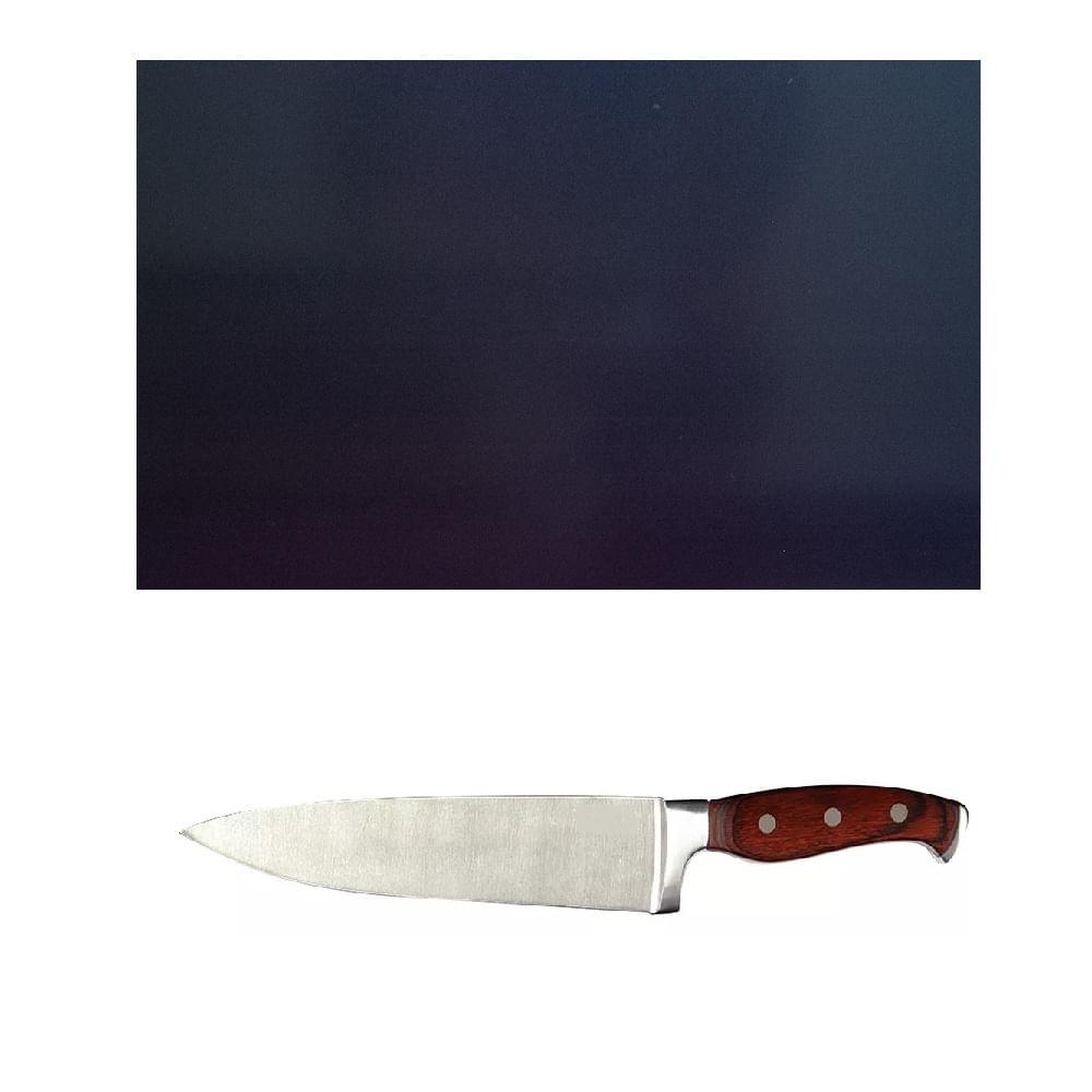 Tabua de Corte LISA polietileno Preta media, com faca do chef