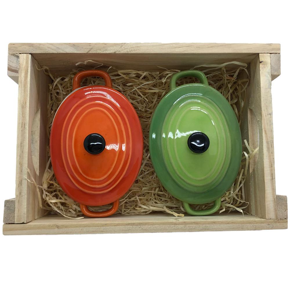 Panelinhas Laranja, Verde de Porcelana Oval com engradado para presente