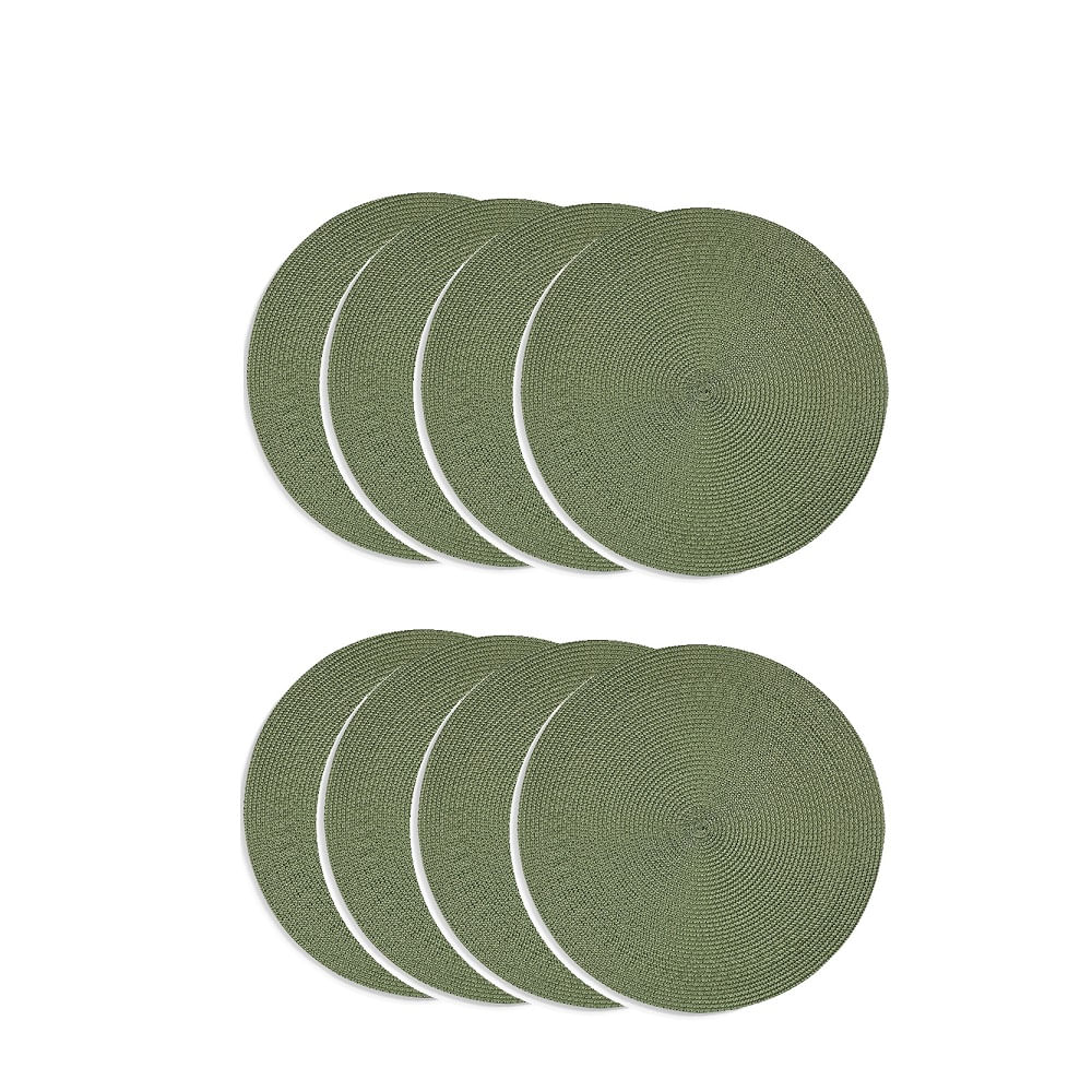 Jogo americano redondo 8 unidades -  verde oliva