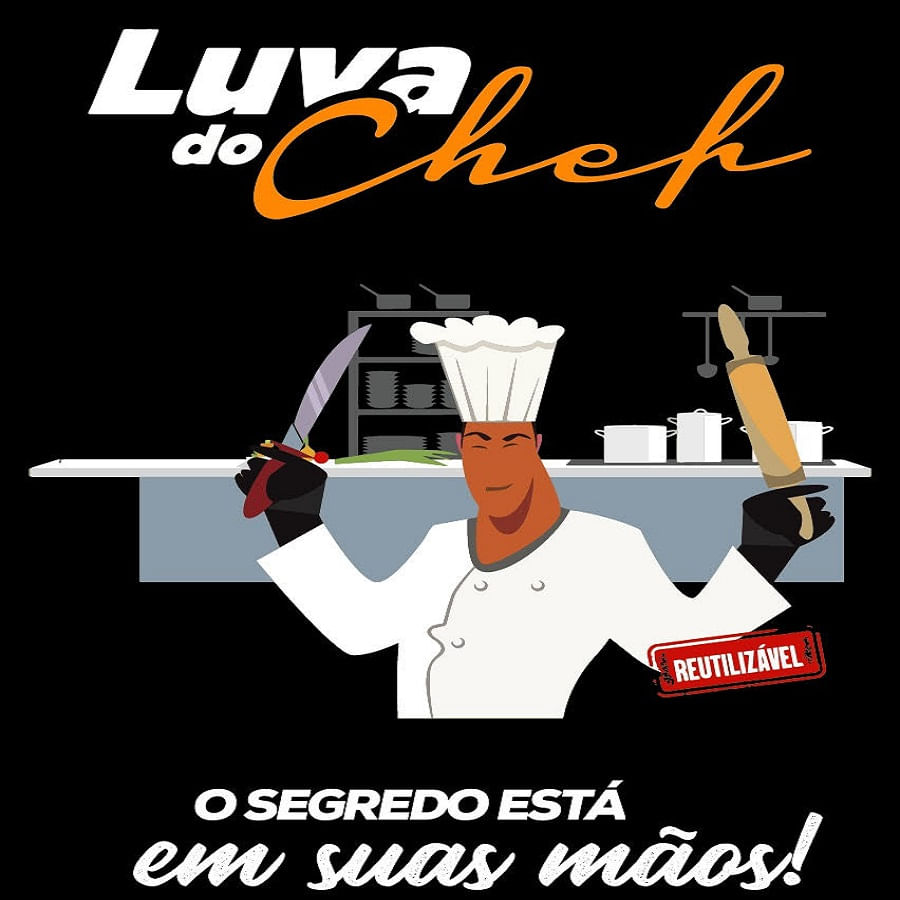 Luvas do chef pretas (10 unidades) - Latex - Media