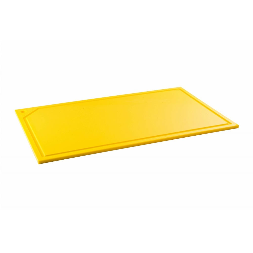 Tabua de Corte em polietileno - amarela - canaleta - 50 x 30