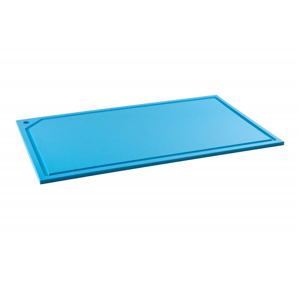 Tabua de Corte em polietileno - azul - Canaleta - 50 x 30