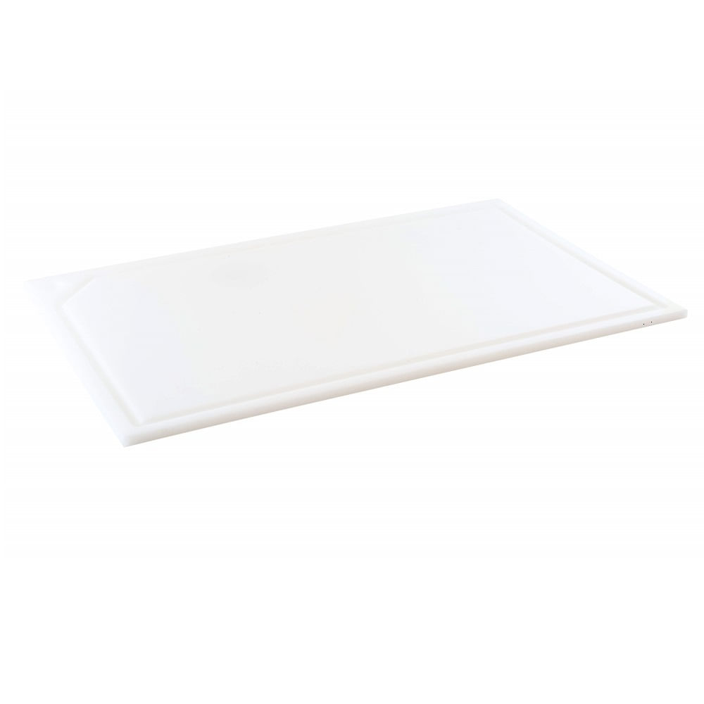 Tabua de Corte em polietileno - branca - canaleta - 50 x 30