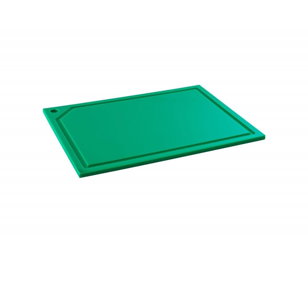 Tabua de Corte em polietileno - canaleta - verde - 33 x 25