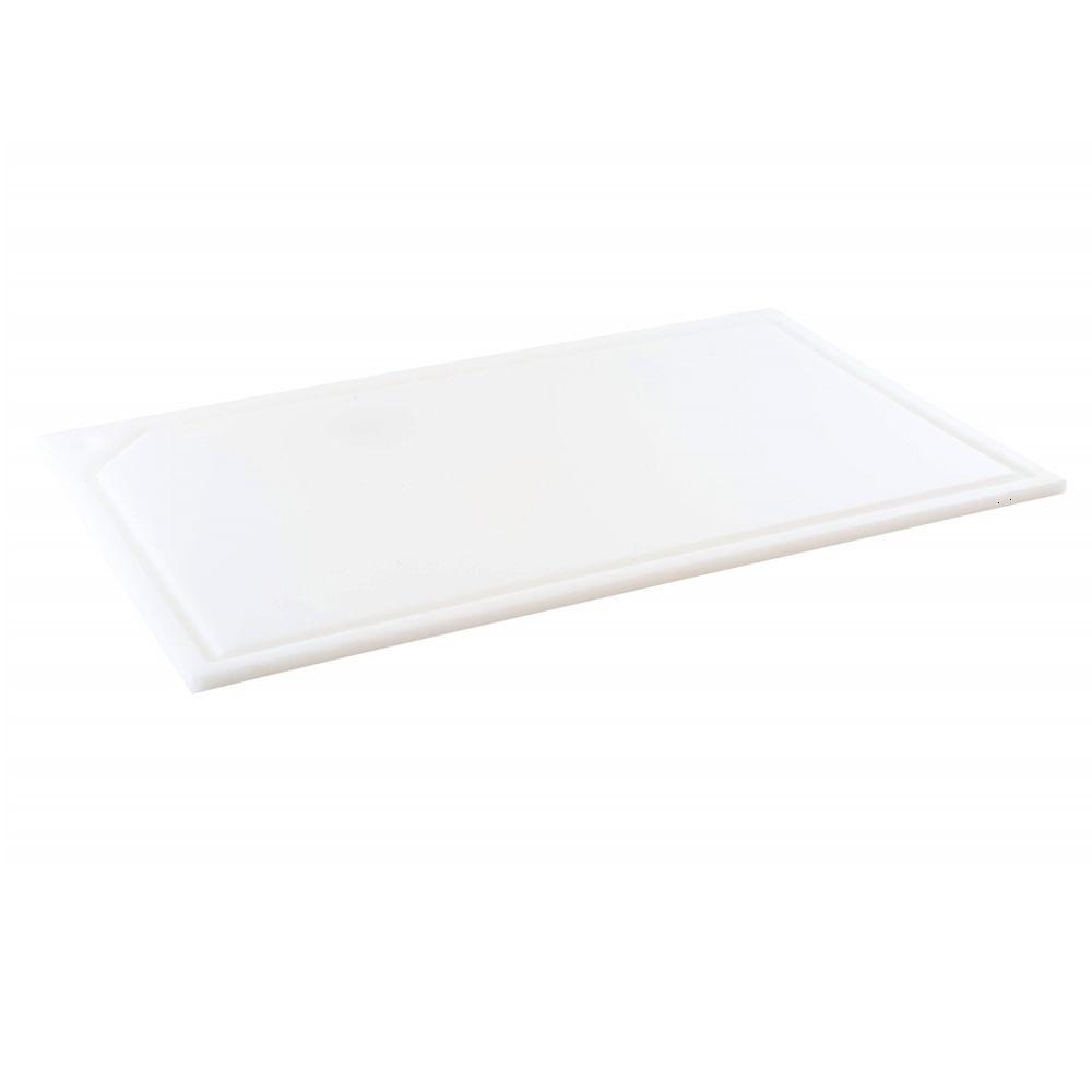 Tabua de Corte em polietileno - canaleta - branca - 33 x 25