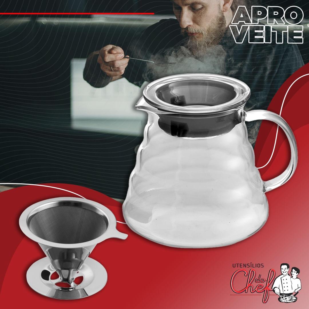 Kit Jarra vidro e filtro para café Compativel com V60