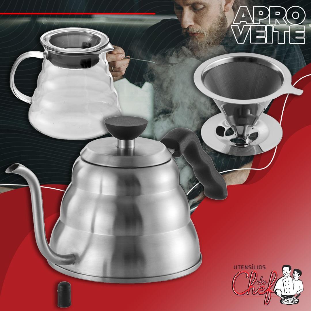Kit Chaleira bico fino, Jarra vidro e filtro para café inox