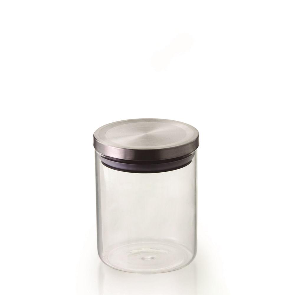 Pote hermetico vidro borosilicato com tampa cor prata 750 ML