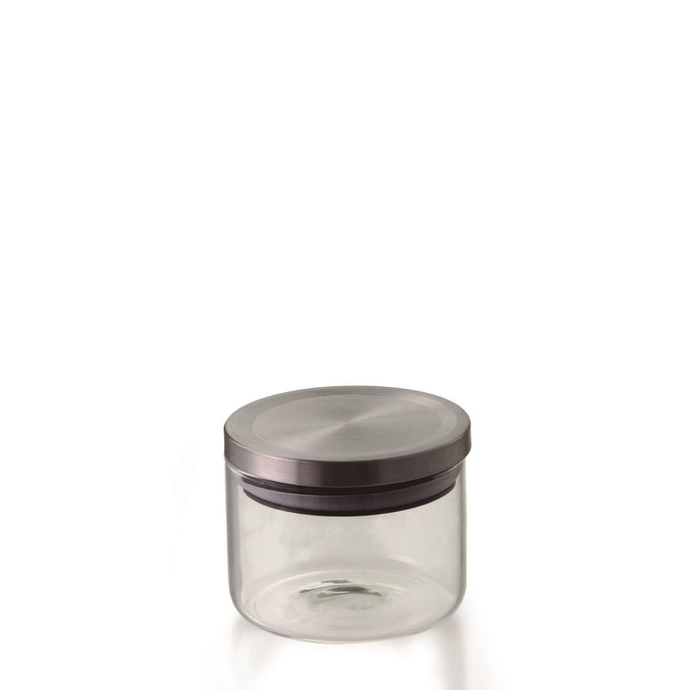 Pote hermetico vidro borosilicato com tampa cor prata 370 ML