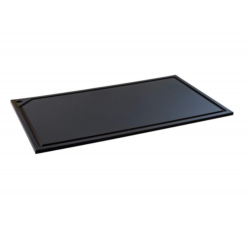 Tabua Corte Canaleta polietileno Preta 60 x 40x1.5 Churrasco