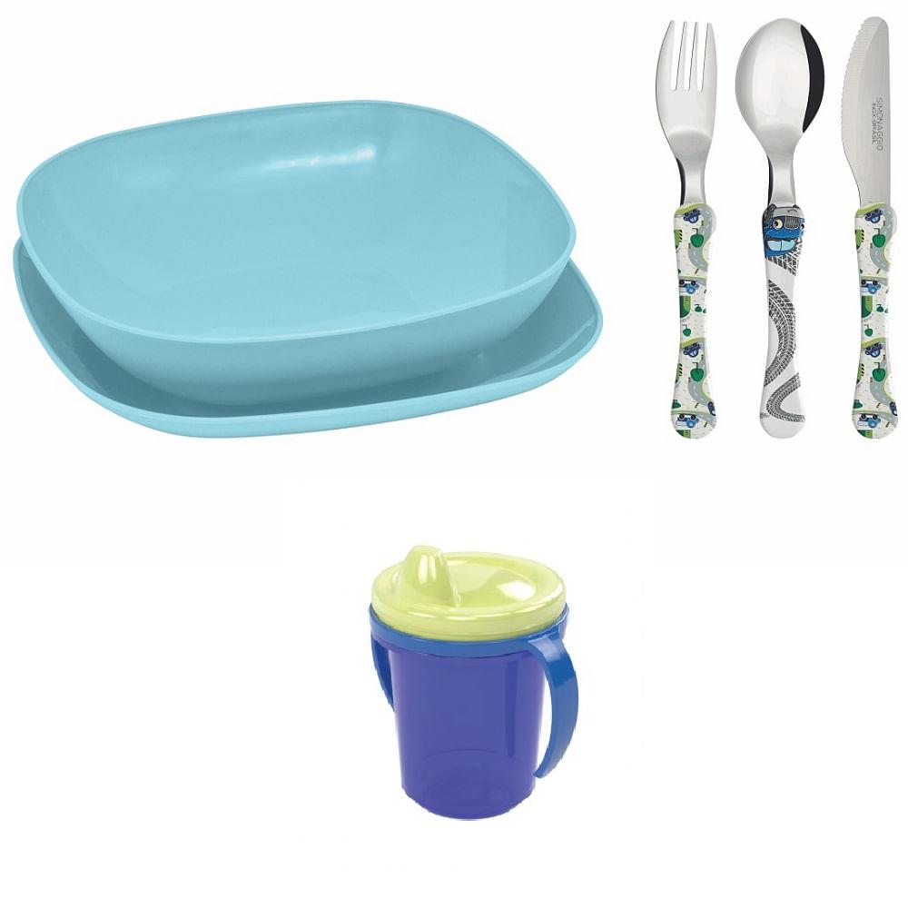 Conjunto pratos e talheres infantil copo de transicao - Azul