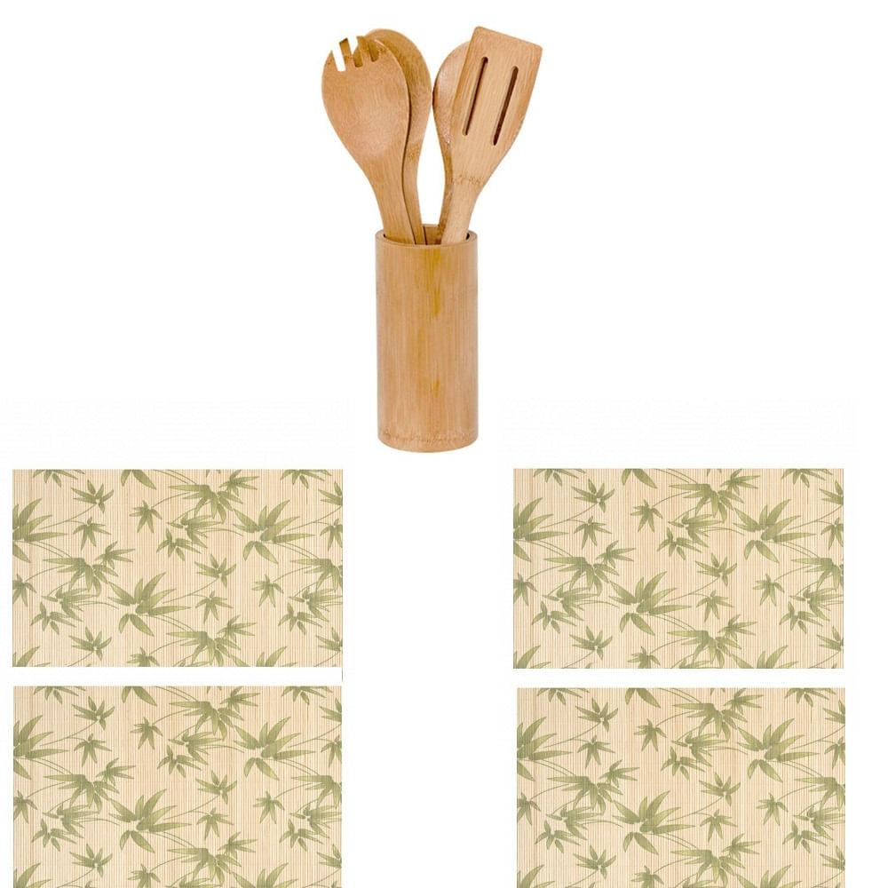 Conjunto de utensilios e jogo americano de Bambu