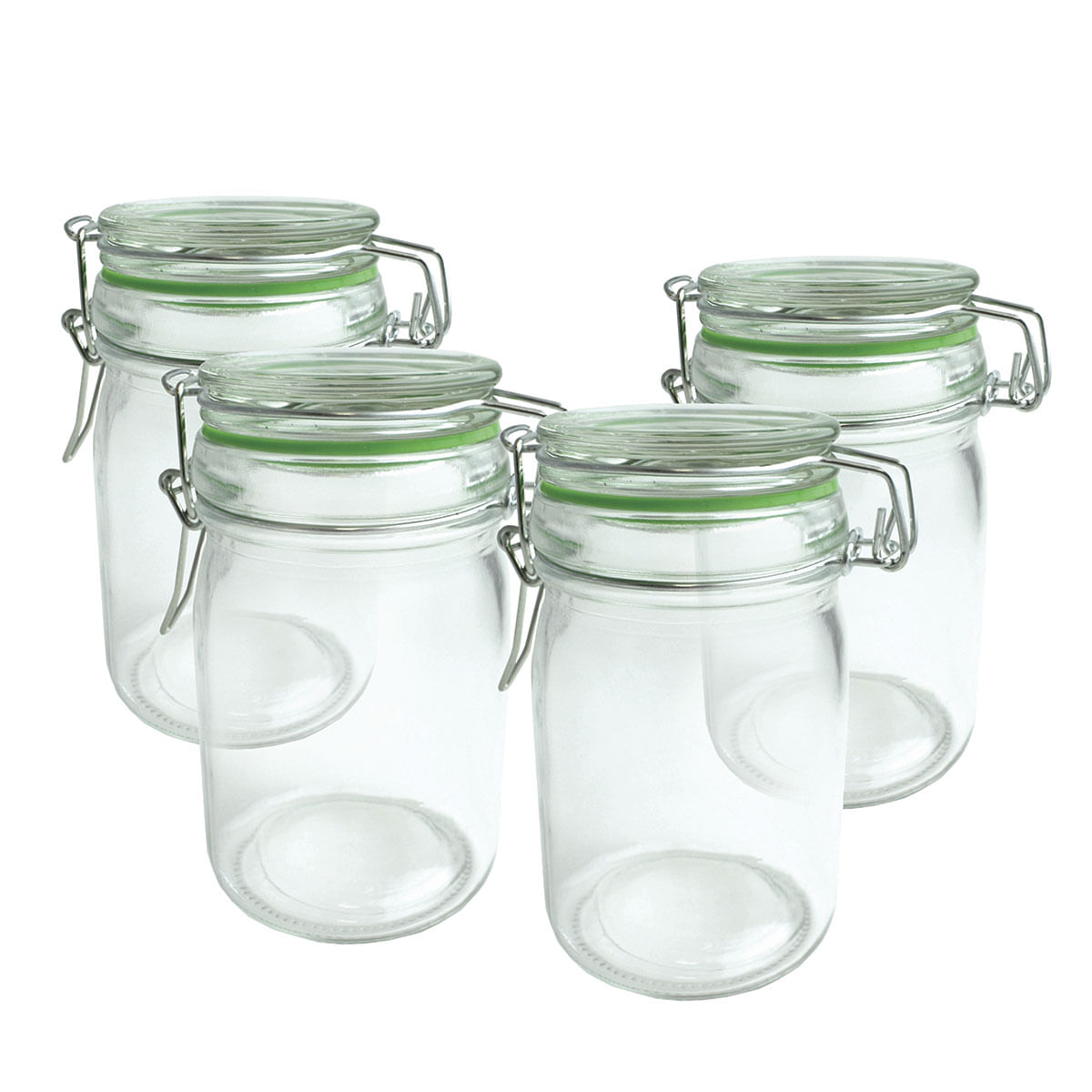 Conjunto de Quatro Potes Hermeticos vidro com trava - 250 ML
