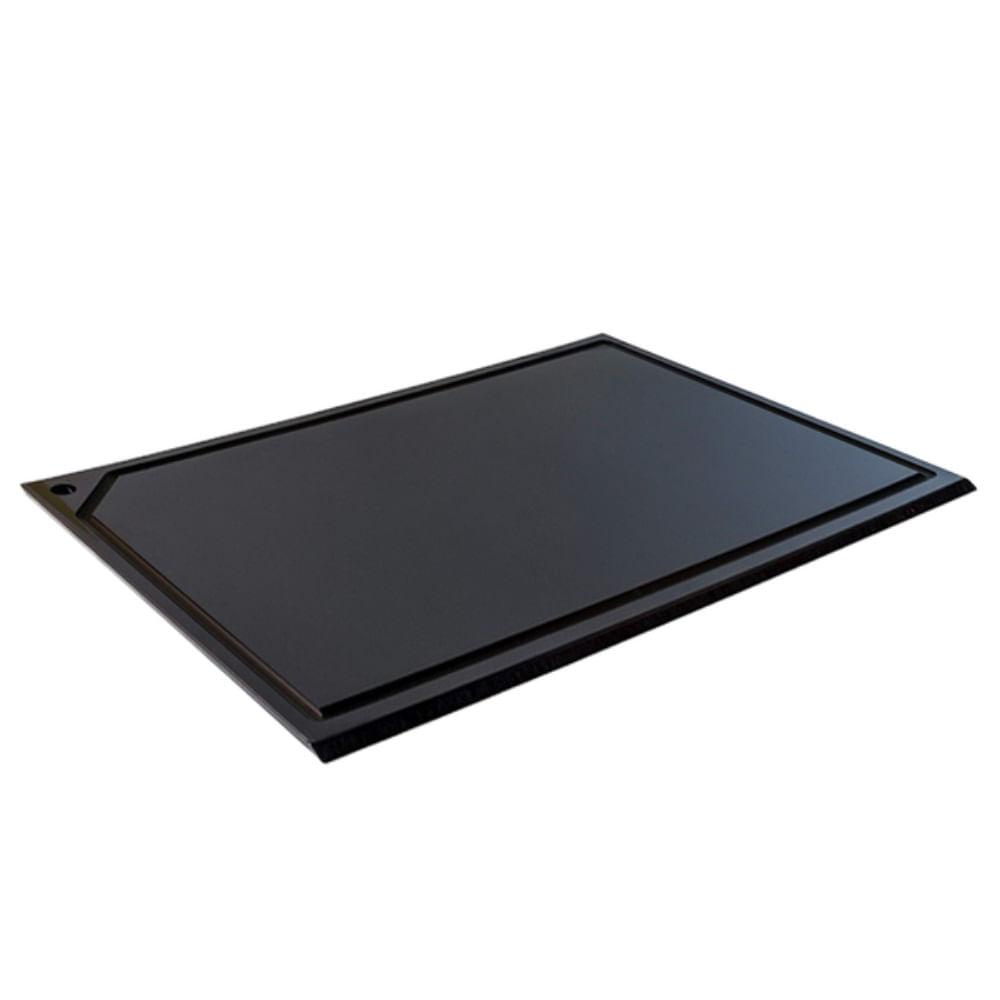 Tabua Corte Canaleta polietileno Preta - 60 x 50 - Churrasco