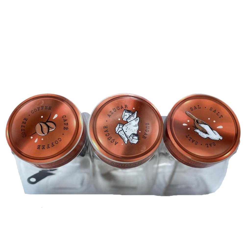 Conjunto de 3 Potes estilo Baleiro - Cafe acucar e sal